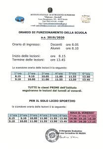Orario Funzionamento Scuola a.s. 2019-2020